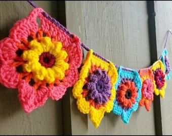 Crochet Bunting, vibrant wall hanging, splash of color, artist made, pink, yellow, aqua blue, purple, orange