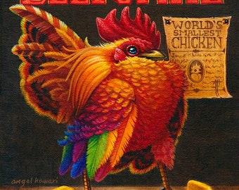 Print, Beefcake by Angel Hawari, beefy chicken, smallest chicken in the world, sideshow, freakshow, circus banner