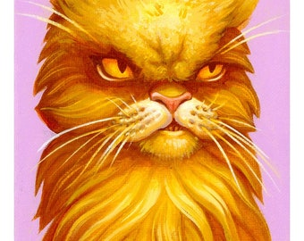 Judgiest Cat EVER print by Angel Hawari, grumpy cat, massive side eye
