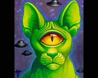 Whiskers Wazowski print by Angel Hawari, Alien Cat, Cyclops, monster cat, space kitty