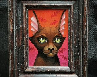 Dracula the Impurrler original painting, Cat Art, vampire cat, bat kitty, Angel Hawari