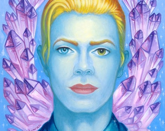 David Bowie portrait print by Angel Hawari, Patron Saint of Art
