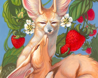 Fruity Fox Love by Angel Hawari, fennec fox, strawberry, I love you, Valentines Day, gift for her