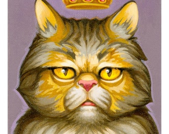 Royal Highness print by Angel Hawari, grumpy cat, monster cat