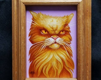 Judgiest Cat EVER original painting by angel Hawari, cat art, grumpy cat, massive side eye, not amused, monster cat