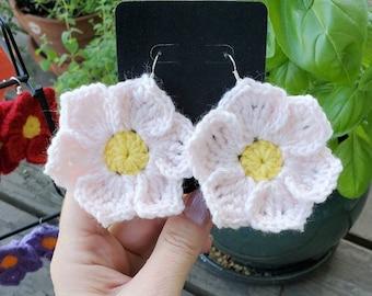 Earrings, Pale Pink, six petal flower, colorful crochet
