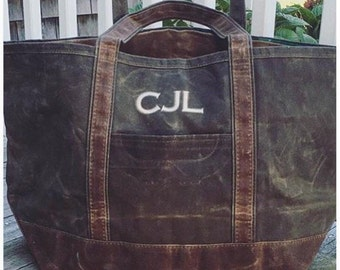Monogrammed Waxed Canvas Bag- Monogrammed Tote- Monogrammed Weekender-Fathers day gift