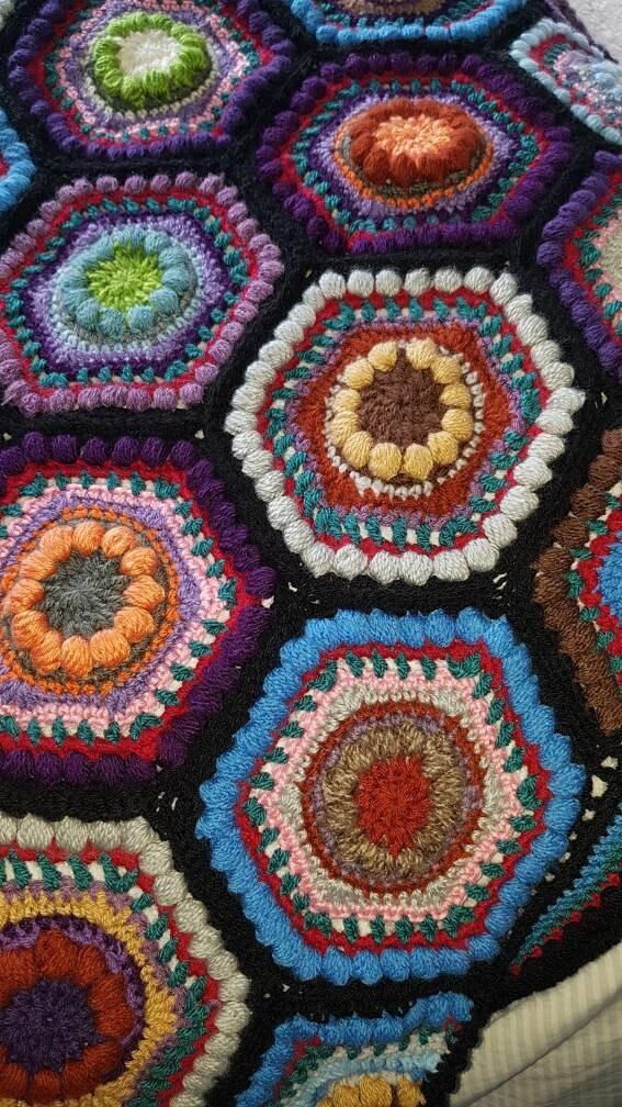 Couverture afghane de tour, crochet fait main, effet de verre de tache