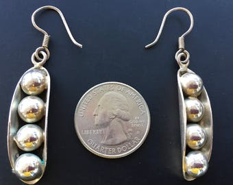 "Sterling Silver Dangle Earrings ""Peas in a Pod"" 12 grams Signed TL-91 Marked 925 ALCH"