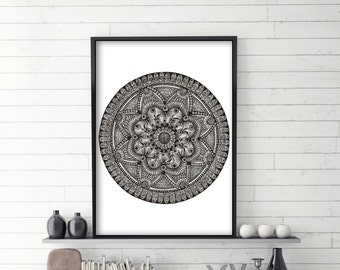 "Large Folk Mandala 1 Art Print 24""x34"""