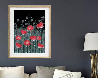 "SALE! Original Drawing - Poppy Field - A2 (16.5x23.4"" / 42x59.4 cm) Art Print, Wall Decor, Illustration"