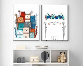 "2 Original Drawings - Cat. Cats- 12x17"" Art Print, Wall Decor, Illustration"