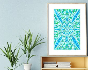 """Original Drawing - Abstract Leafy Pattern - 8.5x12"""" up to 24x34"""" Art Print, Wall Decor, Illustration"""