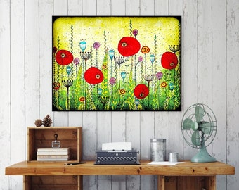 "Original Drawing - Grungy Poppy Field - 8.5x12"" up to 24x34"" Art Print, Wall Decor, Illustration"