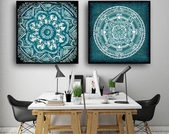 """2 Original Drawings - Mandala. 2 mandalas - Art Print, Wall Decor, Illustration 23x23"""""""