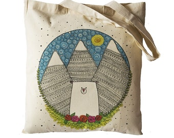 Tote Bag / Shopping Bag - Bear in Mountains - 100% Eco-Friendly Organic Cotton