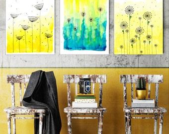 "3 Original Drawings - Watercolor Flowers - 12x17"" Art Print, Wall Decor, Illustration"