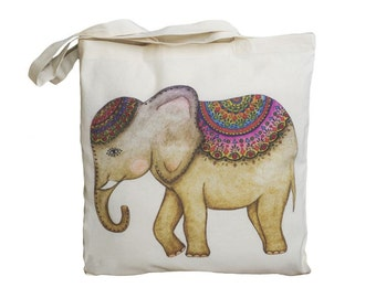 Tote Bag / Shopping Bag - Elephant - 100% Eco-Friendly Organic Cotton. Bear bag