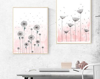 "2 Original Drawings - Flowers. - 12x17"" Art Print, Wall Decor, Illustration"