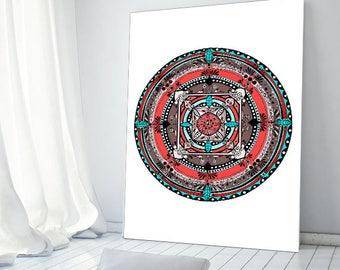 "Original Drawing - Folk Mandala 1 - 8.5x12"" up to 24x34"" Art Print, Wall Decor, Illustration"