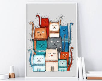 "Original Drawing - Cat - 8.5x12"" up to 24x34"" Nursery Art Print, Kids Room Wall Decor, Illustration"