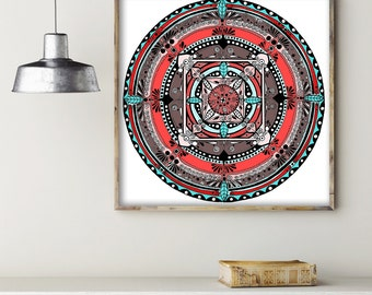 "Folk Mandala Colorful Drawing Art Print on Acid-Free Paper, Wall Decor, Illustration, Poster 24x24"""