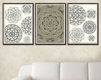 "3 Original Drawings -Flowers - 12x17"" Art Print, Wall Decor, Illustration"