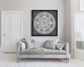"Folk Mandala Colorful Drawing - 12x12"" (30x30 cm) Art Print on Acid-Free Paper, Wall Decor, Illustration, Poster"