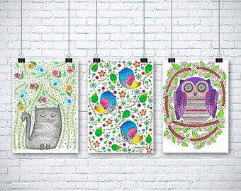 "3 Original Drawings - Children Illustration - 12x17"" Art Print, Wall Decor, Illustration"