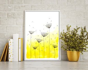 "Original Watercolor Painting - Abstract Dandelions 2 - 8.5x12"" up to 24x34"" Art Print, Wall Decor, Illustration"