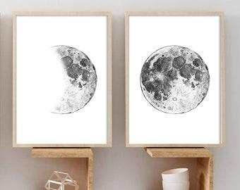 2 Original Drawings. Moon, Moon illustration - Abstract Posters.Poster - Art Print, Wall Decor, Illustration