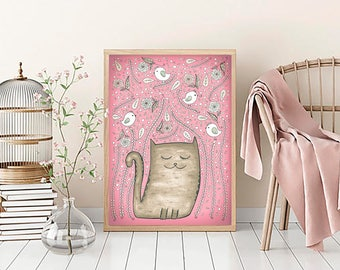 "SALE! Cat Art Print 24""x34"""
