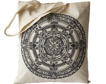 Tote Bag / Shopping Bag - Mandala - 100% Eco-Friendly Organic Cotton. Bear bag