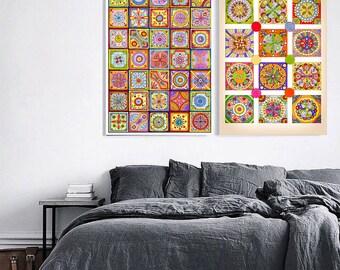 2 Original Drawings - Abstract art. Mosaic - Art Print, Wall Decor, Illustration