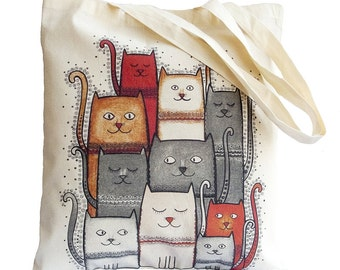 Tote Bag / Shopping Bag - Cat. Cats - 100% Eco-Friendly Organic Cotton. Bear bag