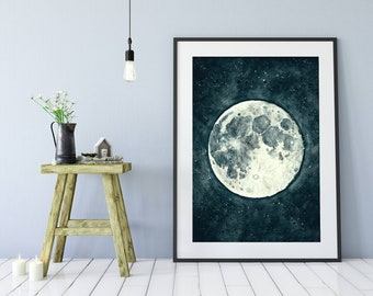 "Original Drawing - Moon. Night. Stars- 8.5x12"" up to 24x34"" Art Print, Wall Decor, Illustration"