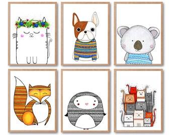 "6 Original Drawings - Children Illustration - 12x17"" Art Print, Wall Decor, Illustration"