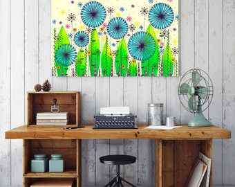 "Original Drawing - Cornflower Meadow - 8.5x12"" up to 24x34"" Art Print, Wall Decor, Illustration"