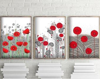 "SALE! 3 Original Drawings - Poppy Flowers - 12x17"" Art Print, Wall Decor, Illustration"