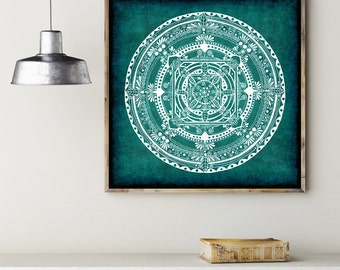 Folk Mandala Colorful Drawing Art Print on Acid-Free Paper, Wall Decor, Illustration, Poster