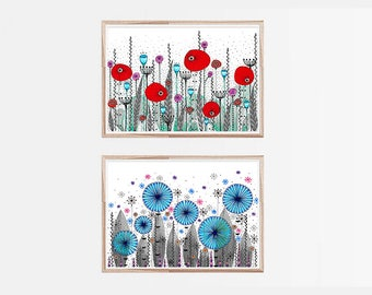 "2 Original Drawings - Meadow. Flowers - 12x17"" Art Print, Wall Decor, Illustration"
