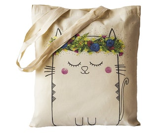 Tote Bag / Shopping Bag - Cat - 100% Eco-Friendly Organic Cotton