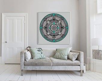 Folk Mandala Colorful Drawing Art Print on Acid-Free Paper, Wall Decor, Illustration, Poster