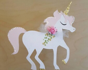 Unicorn Cake Topper! Unicorn Party! Unicorn birthday cake or Baby Shower!  Sparkly! Cake Topper! Unicorn! Paper Flower, Glitter