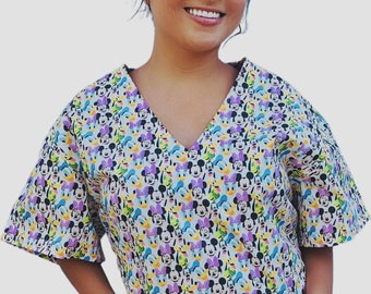 Disney Characters Nursing Women's Relaxed Fit Cleaning Shirt RN CNA Pediatrics Healthcare Veterinary Dental Clinic