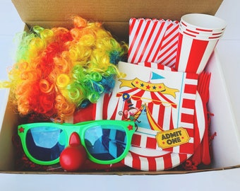 Carnival Party in a Box, Gender Neutral Party in a Box Tableware, Carnival Themed Party, Clown Themed Party, Circus Themed Party, Clown Wig