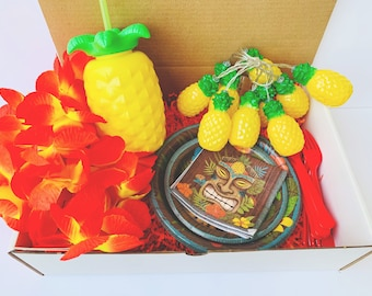 Tropical Party in a Box, Gender Neutral Party in a Box Tableware, Tropical Themed Party, Pineapple Themed Party, Luau Themed Party, Lei