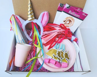 Unicorn Party in a Box, Pink Party in a Box Tableware, Unicorn Themed Party, Magical Themed Party, Metallic Number Balloons