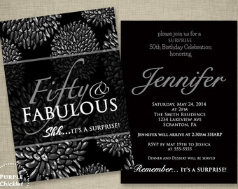 Fleur de lis 60th birthday surprise party invitation gold and etsy 50th birthday surprise party invitation silver flower bursts floral fifty and fabulous double sided printable party invite jpeg file132a filmwisefo