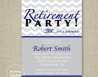 surprise retirement party invitation blue yellow and gray etsy